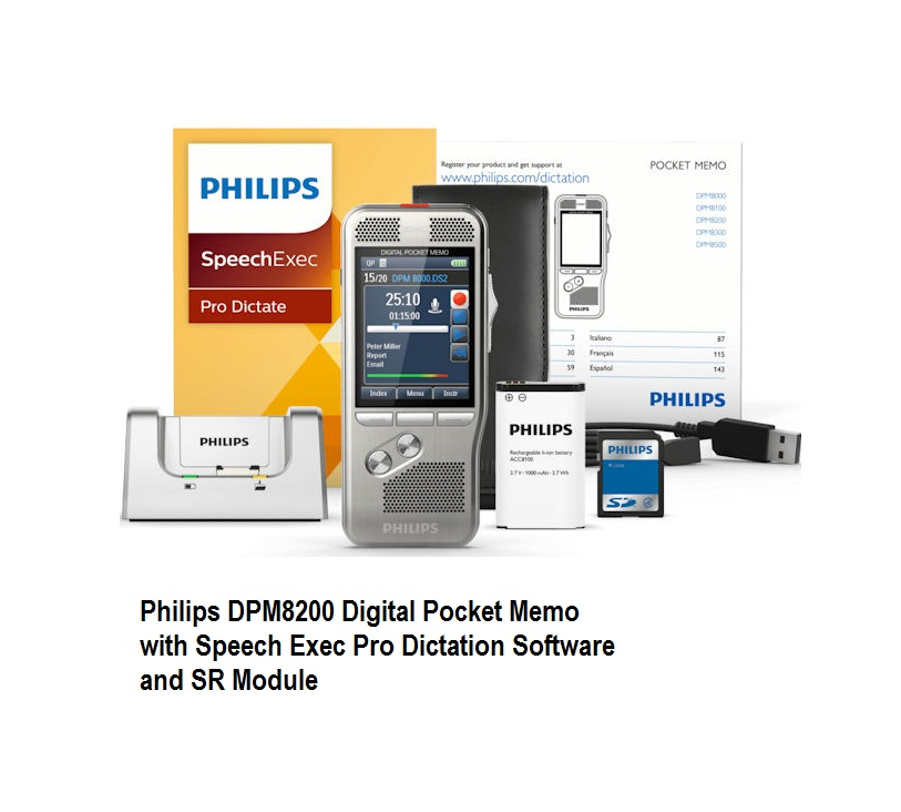 DPM8200 with SpeechExec Pro Dictate Software Philips Slide Switch style
